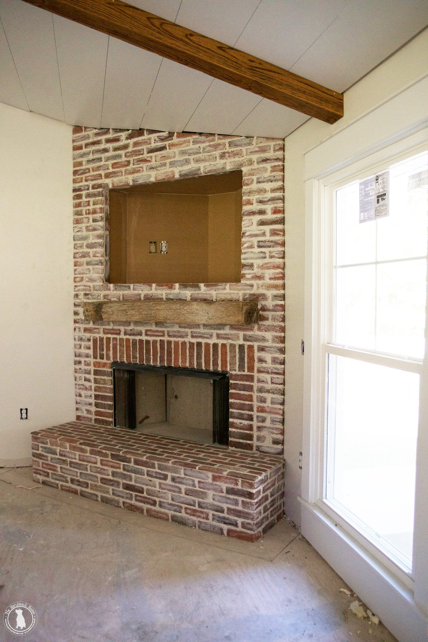 how to mortar rub brick {on a fireplace} - an aged, timeless look with  pretty mortar and brick!