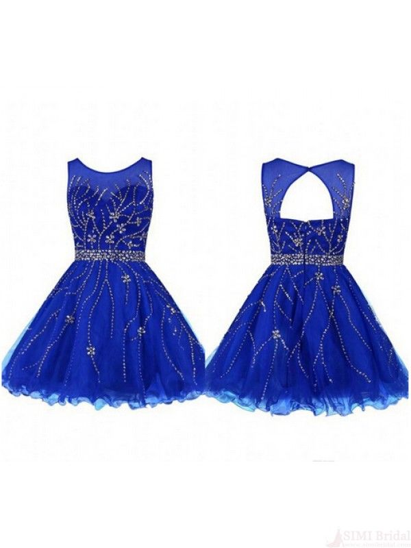 Elegant Round Neck Royal Blue Short Prom Dresses Homecoming Dresses ...