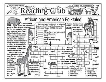 AFRICAN AND AMERICAN FOLKTALES - Enjoy an African and American folktales-themed Two-Page Activity Set and African Animals-themed Word Search Puzzle with this discounted bundle! Includes the following products:  African and American Folktales Two-Page Ac