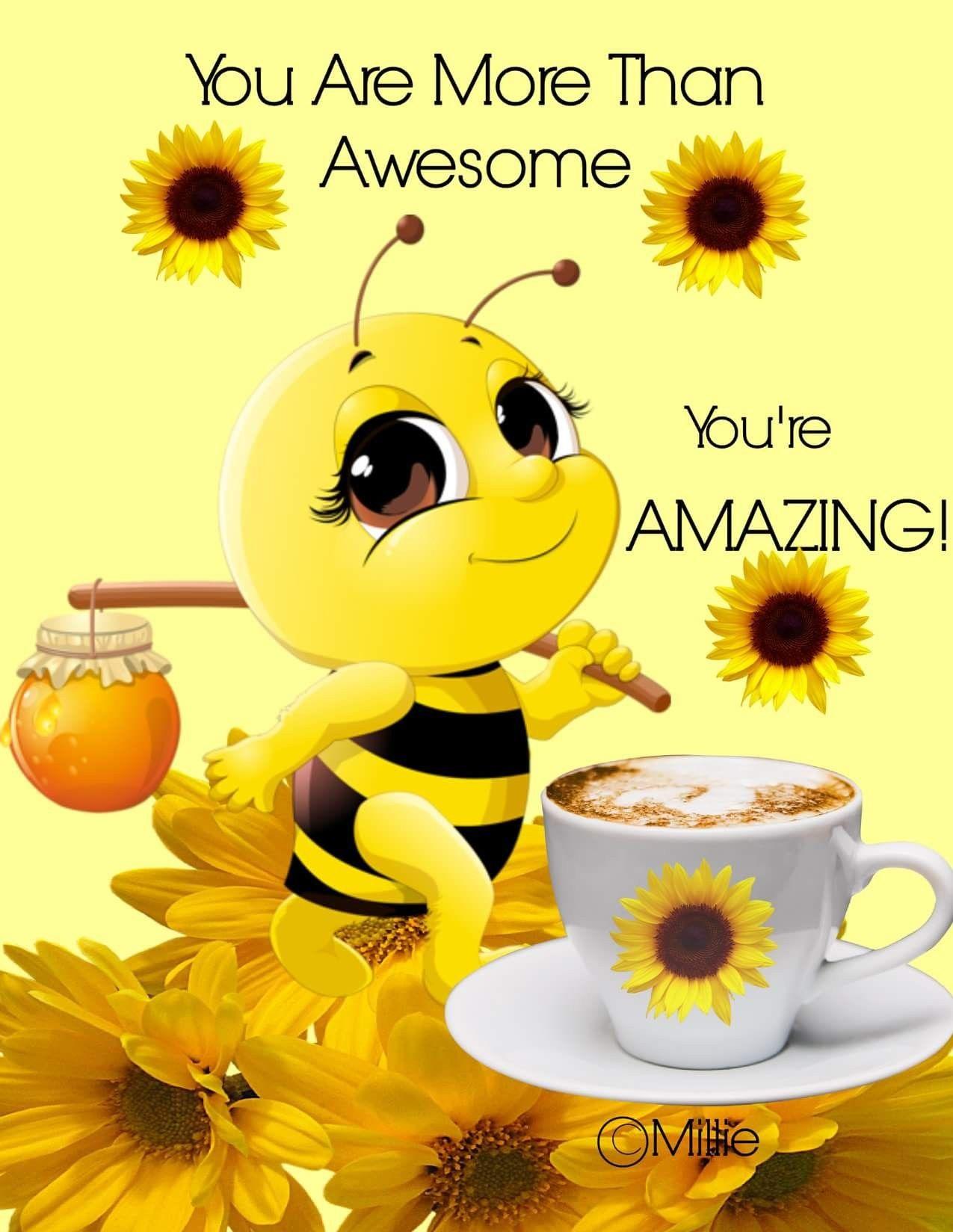 Открытка с добрым утром пчелка