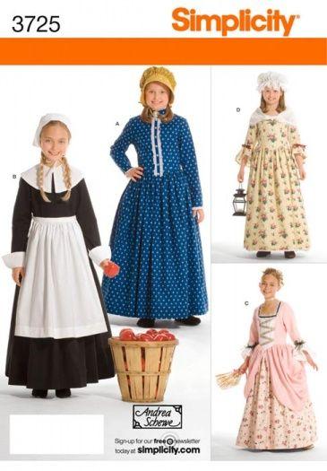 Patron robe paysanne enfant 19ème - Simplicity 3725   Sewing girl ...