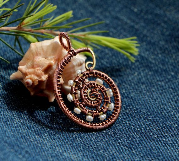 Copper and Brass Pearl Pendant  Ammonite Pendant  Shell by irridis