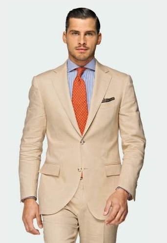 tan-color-summer-suit-orange-tie | wedding ideas | Pinterest ...