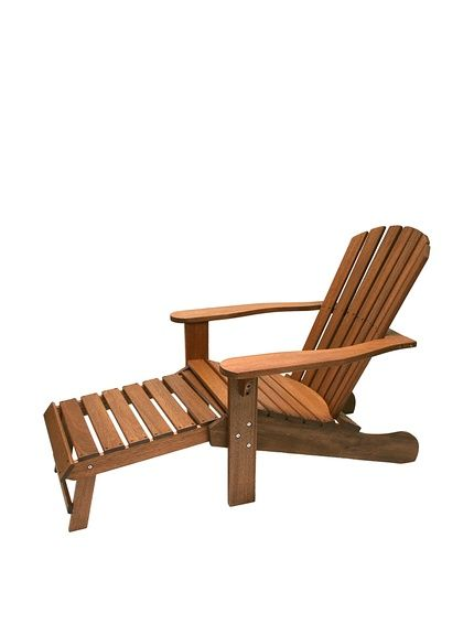 Outdoor Interiors Eucalyptus Adirondack Chair With Built In Sliding Ottoman Brown At Myhabit