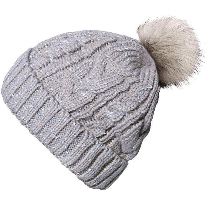 585c6466dd624 YSense Womens Winter Pom Pom Beanie Hat Thick Slouchy Cable Knit Skull Ski  Cap with Warm