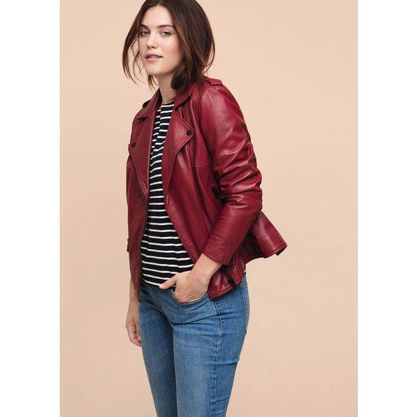 Violeta BY MANGO Leather Biker Jacket (£220) ❤ liked on Polyvore featuring outerwear, jackets, plus size, red, red jacket, plus size leather jacket, motorcycle jacket, plus size womens leather jackets and plus size moto jacket
