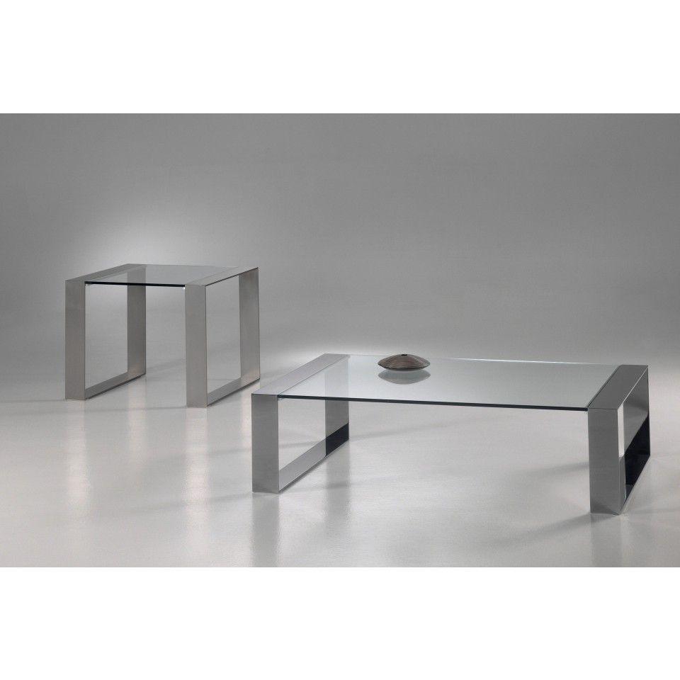 Glazen salontafel modena helder glas met rvs frame for Salontafel glas