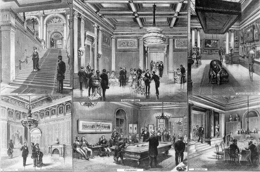 Ansichten aus dem Künstlerhaus, Holzstich nach Zeichnungen von J.N. Schönberg, 1876