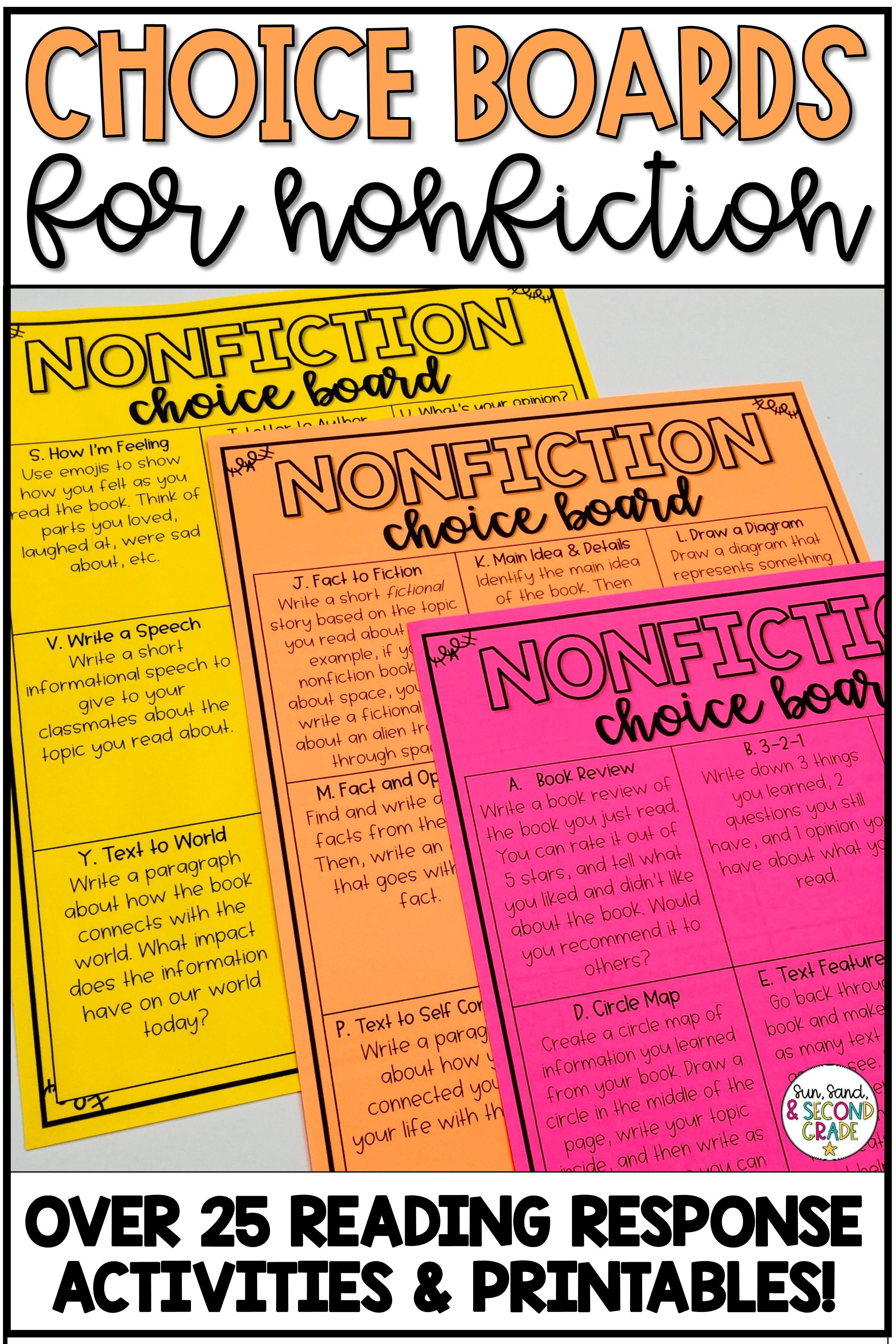 Nonfiction Reading Response Menu or Choice Board | Word work