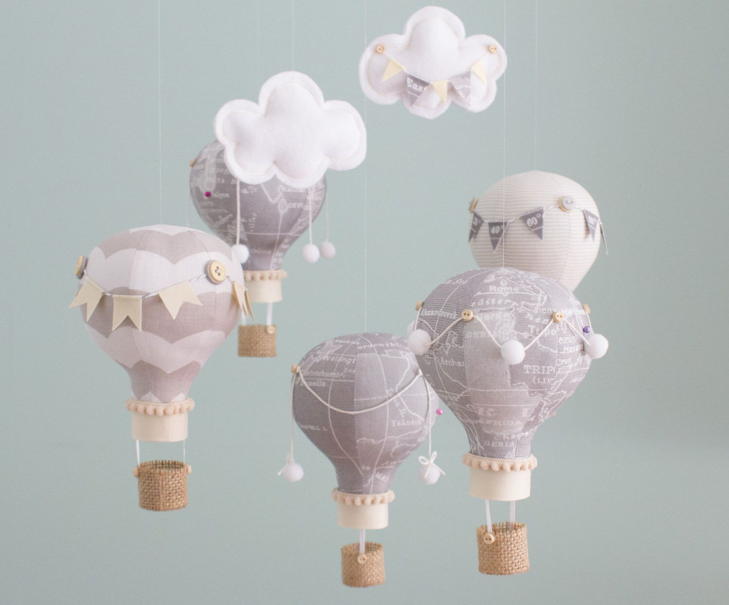 Heirloom baby mobile hot air balloon baby mobile map fabric heirloom baby mobile for a travel theme nursery in old world map fabric with coordinating grey and khaki fabrics the map balloons can include a gumiabroncs Images