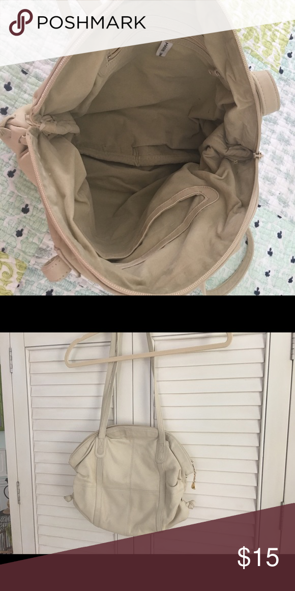 leather, beige bag beige leather hobo type bag , well taken take care of no  brand Bags Hobos ff9d25ee2b