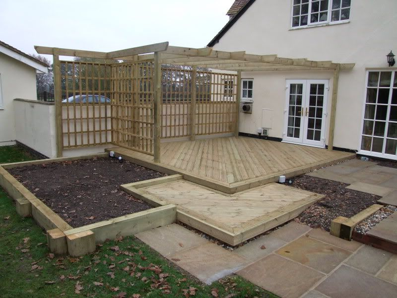 Decking Area With Sleepers
