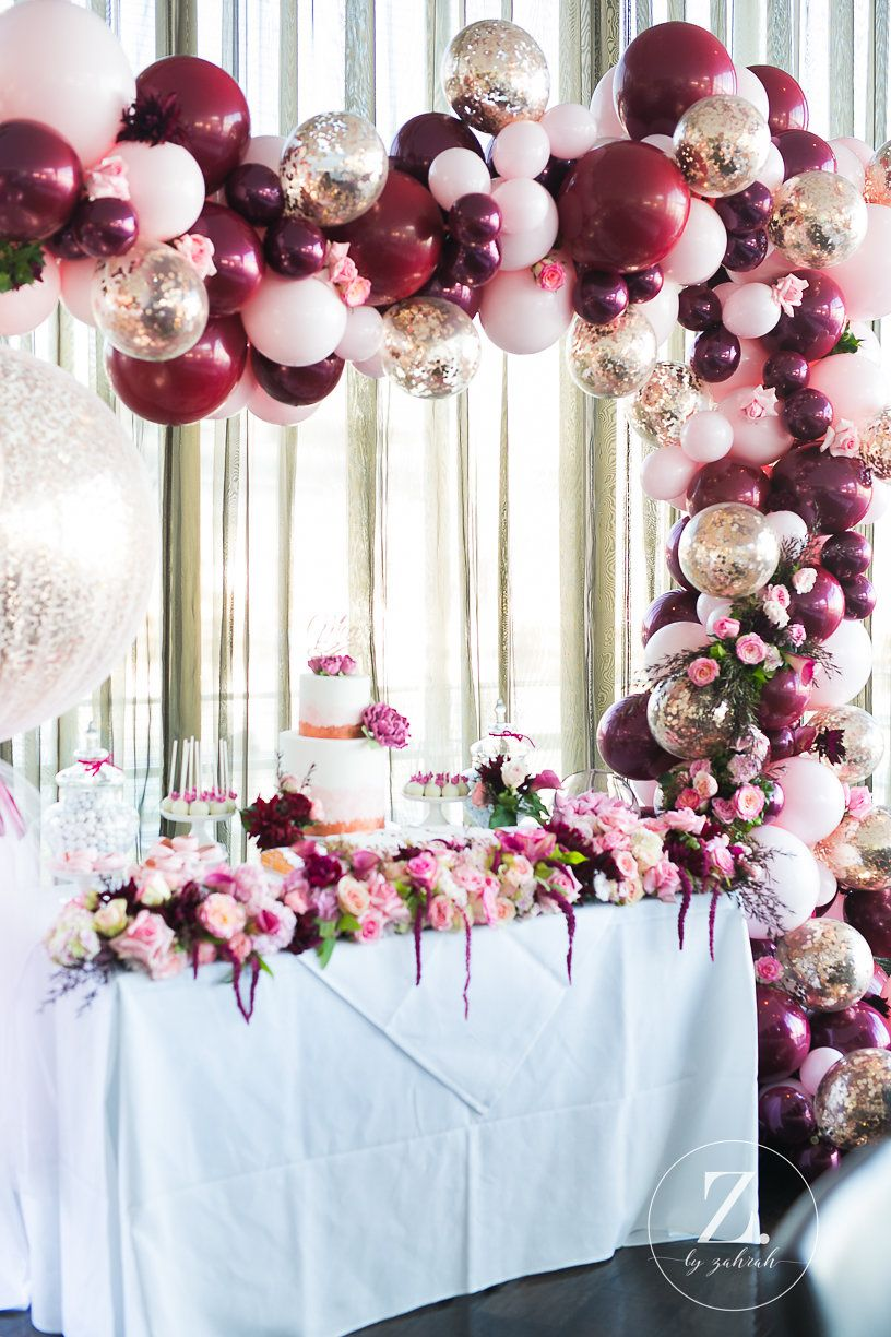 A Luscious Rose Gold Burgundy Pink Christening Party Event