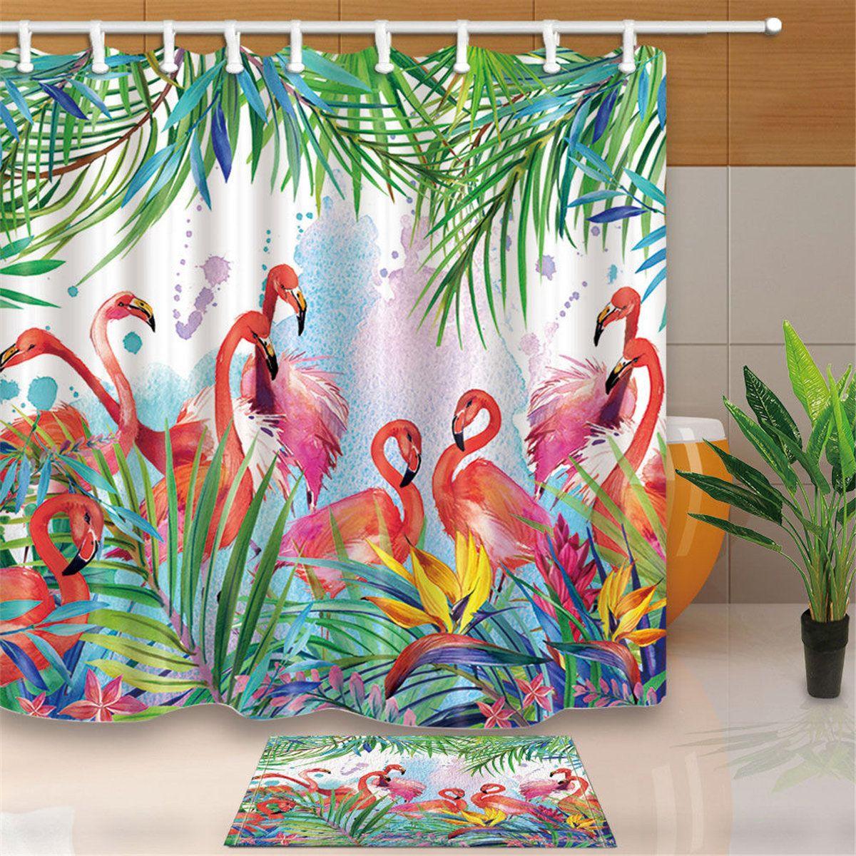 Tropical Flowers And Flamingo Theme Bathroom Shower Curtain