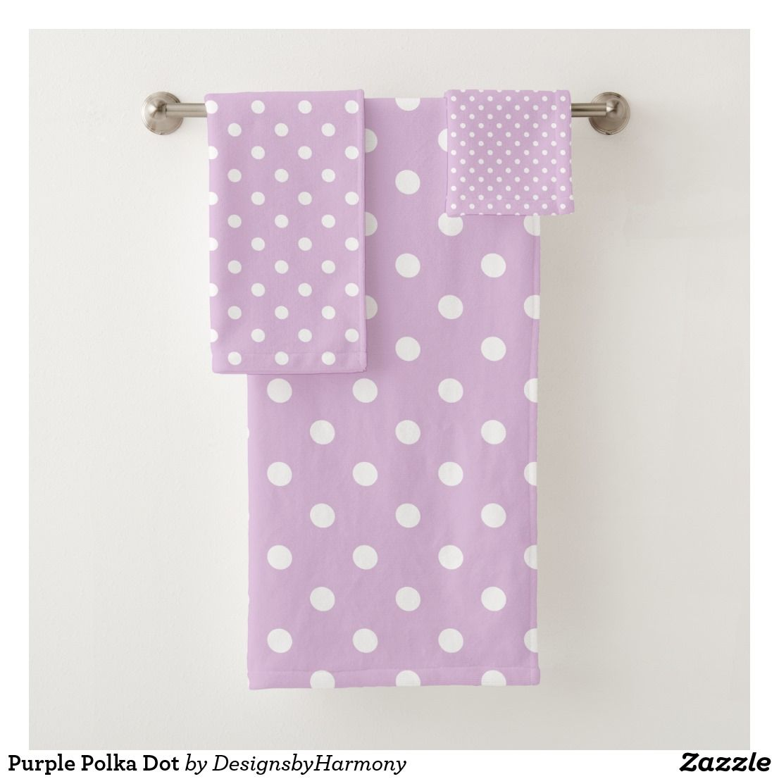 Purple Polka Dot Bath Towel Set Zazzle Com With Images Bath