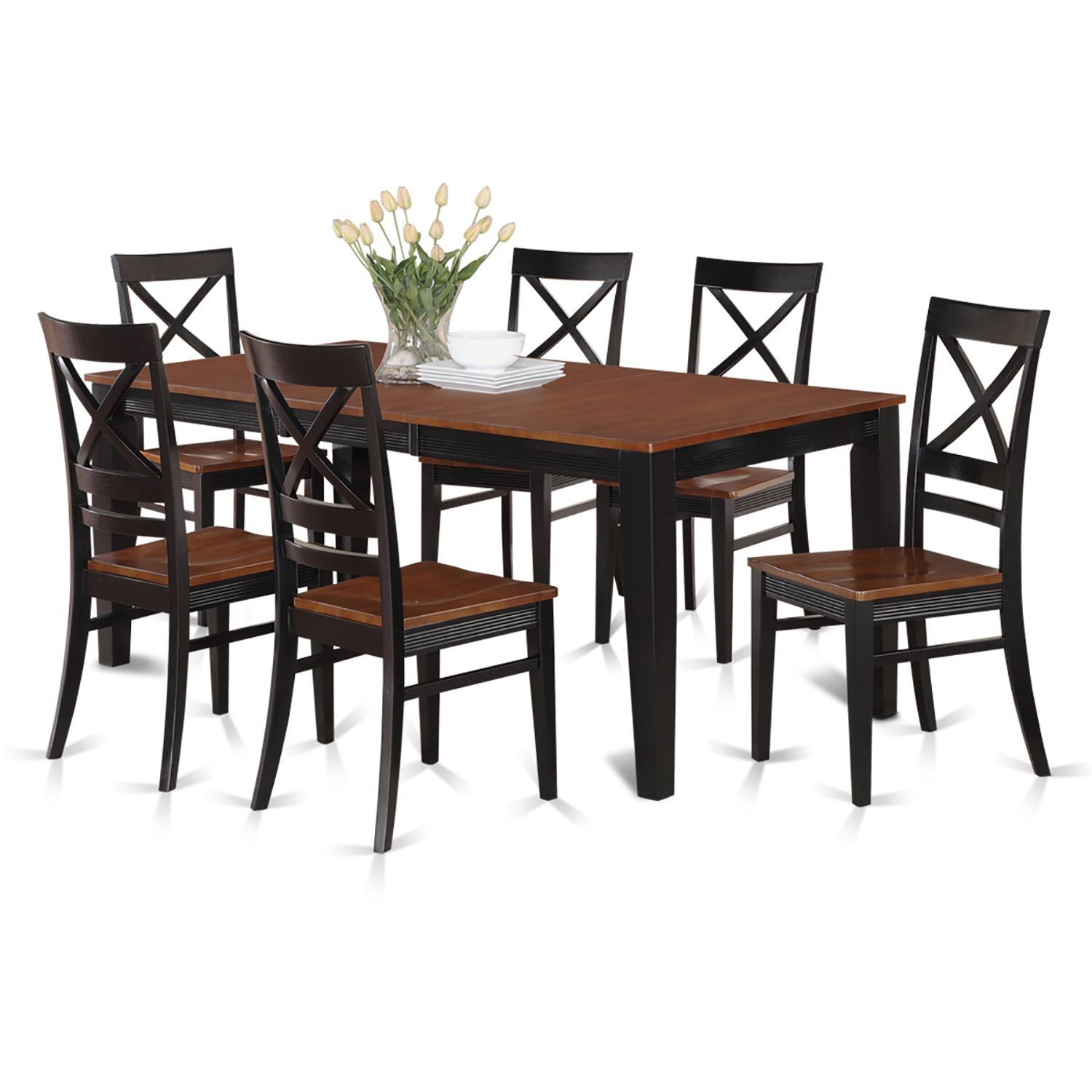 Eat In Kitchen Furniture: QUIN7-W Black/Cream/Cherry Rubberwood Dining Table And 6 Kitchen Chairs (Pack Of 7) (Brown/Black