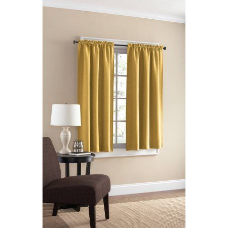 Mainstays Bennett Heavyweight Textured Window Panel Pair Available In Multiple Sizes And Colors, Yellow