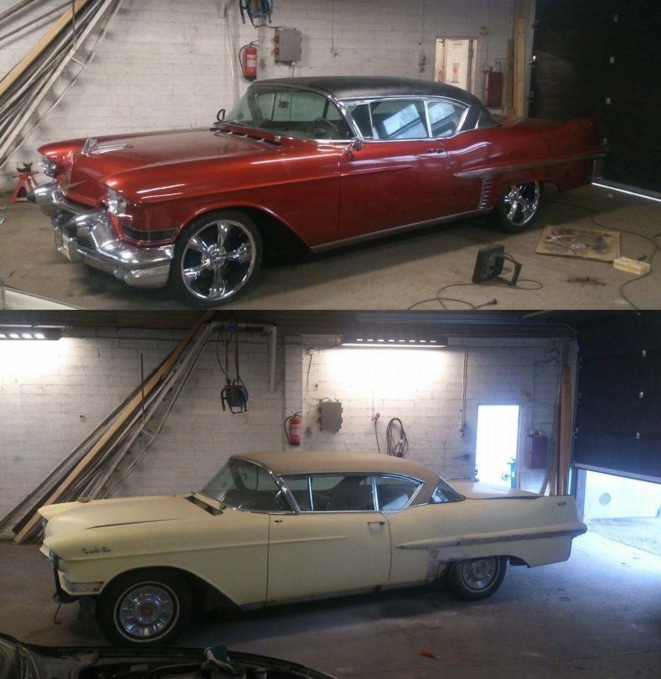 Tässä sitten näkyy mitä on tapahtunut 24.7-7.8. vuoden 1957 Cadillac Coupe De Ville -mallille. Auto tuotiin tänä kesänä USA:sta, rekisteröitiin ja ehostettiin omistajan 9.8. vietettyin häihin!  Pohjamaaliksi tuli Trotonin filleri ja pintaan Mipan WBC (värikoodi Nissan Nam). Viimeistelyn toi pariin kertaan vedetty Troton lakkapaketti. Vinyylikatto maalattiin VHT:n vinyylimaalilla satiininmustaksi.    Auton omistaa Kimmo Harjavallasta ja auton maalaasi Joona Salmi.