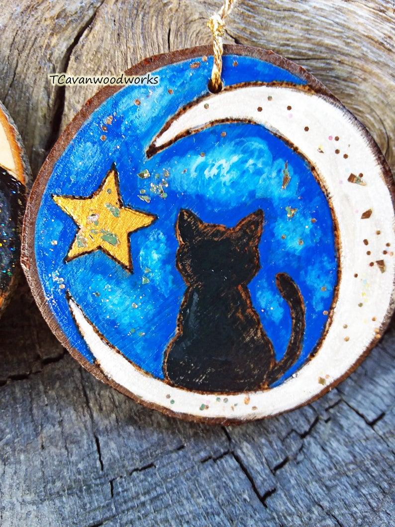Painted wood slices  crescent moon wood slice  wood slice art  bedroom decor Wall art  painted gifts  celestial art moon art