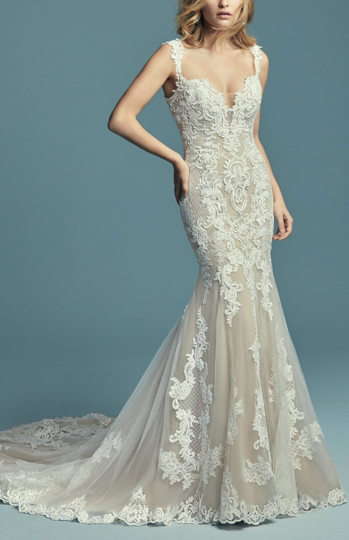 Maggie Sottero Wedding Dresses | Embroidered lace, Wedding dress and ...