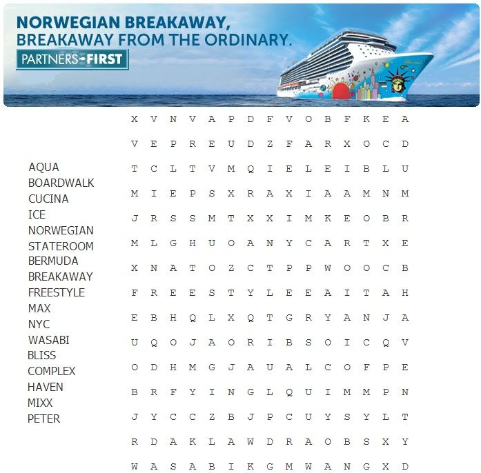 You Can Find Them Norwegian Breakaway WordSearch Cruise - Find cruise