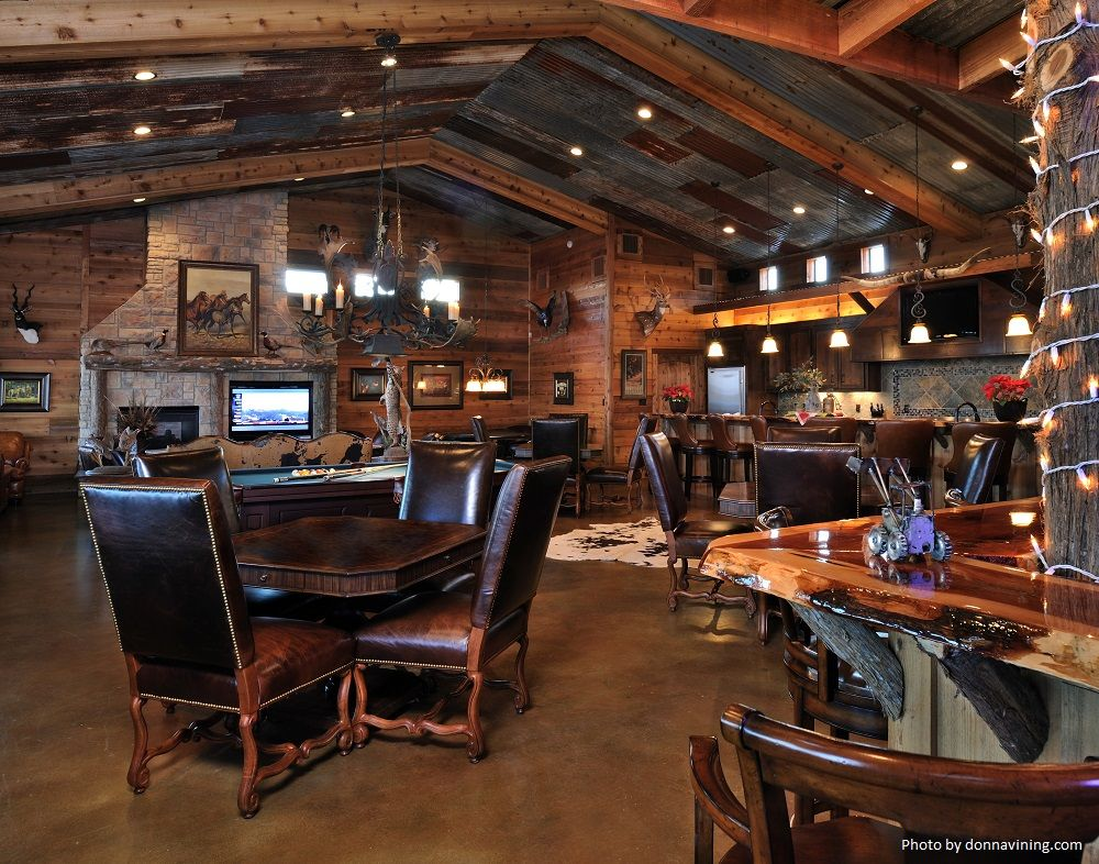 Tile Flooring Ceiling Wood Beams And Hanging Light