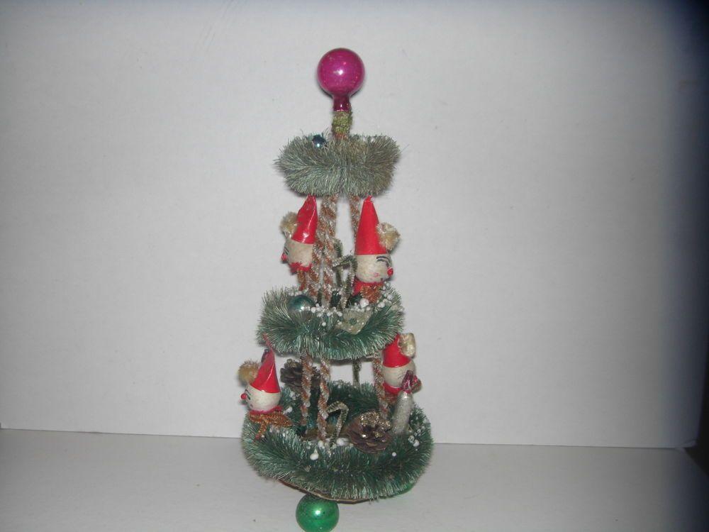 VINTAGE BOTTLE BRUSH WREATH CHRISTMAS TREE Vintage Christmas