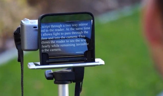 The Parrot teleprompter for DSLRs helps your yap stay on