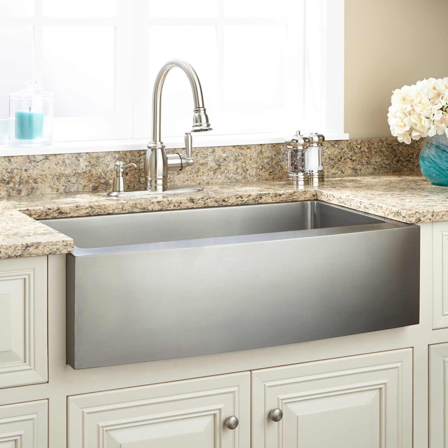 36 Fournier Stainless Steel Farmhouse Sink In Curved Apron