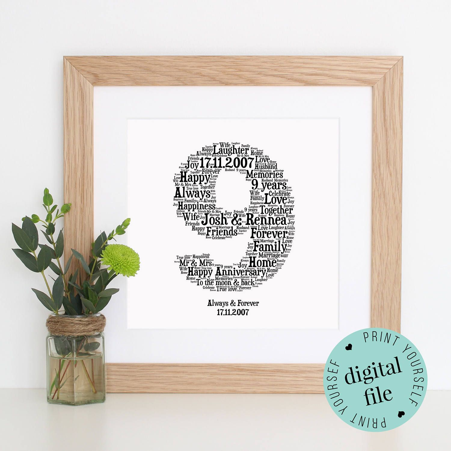 Personalised 9th Anniversary Gift Word Art Printable Art 9