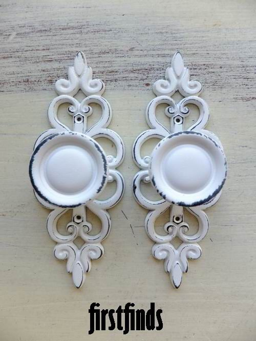 2 Knobs With Lacey Back Plates Shabby Chic White By Firstfinds, $16.00