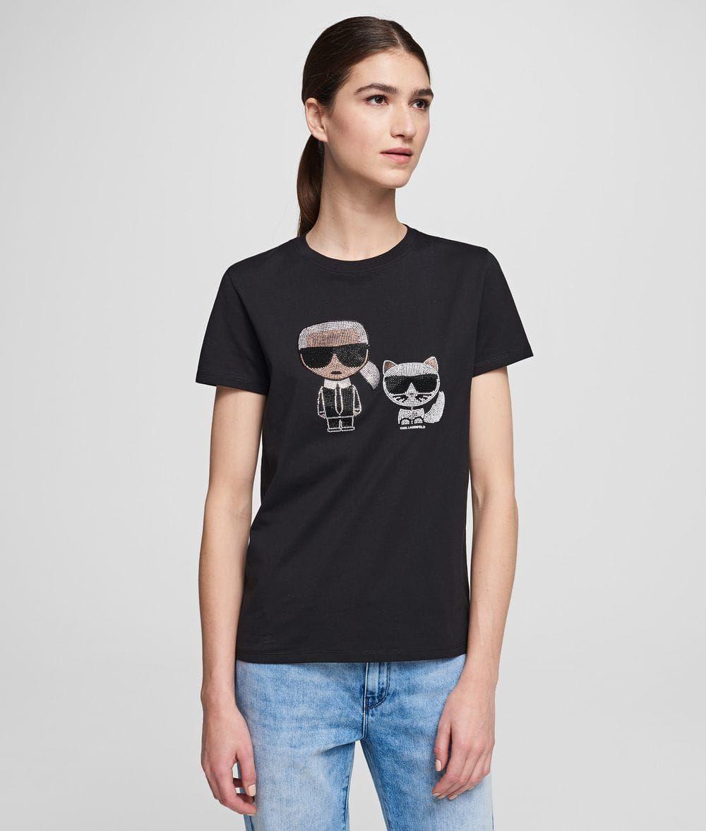 Karl Lagerfeld T Shirt Rhinestone Black W 2020 Karl Lagerfeld I Luksusowy