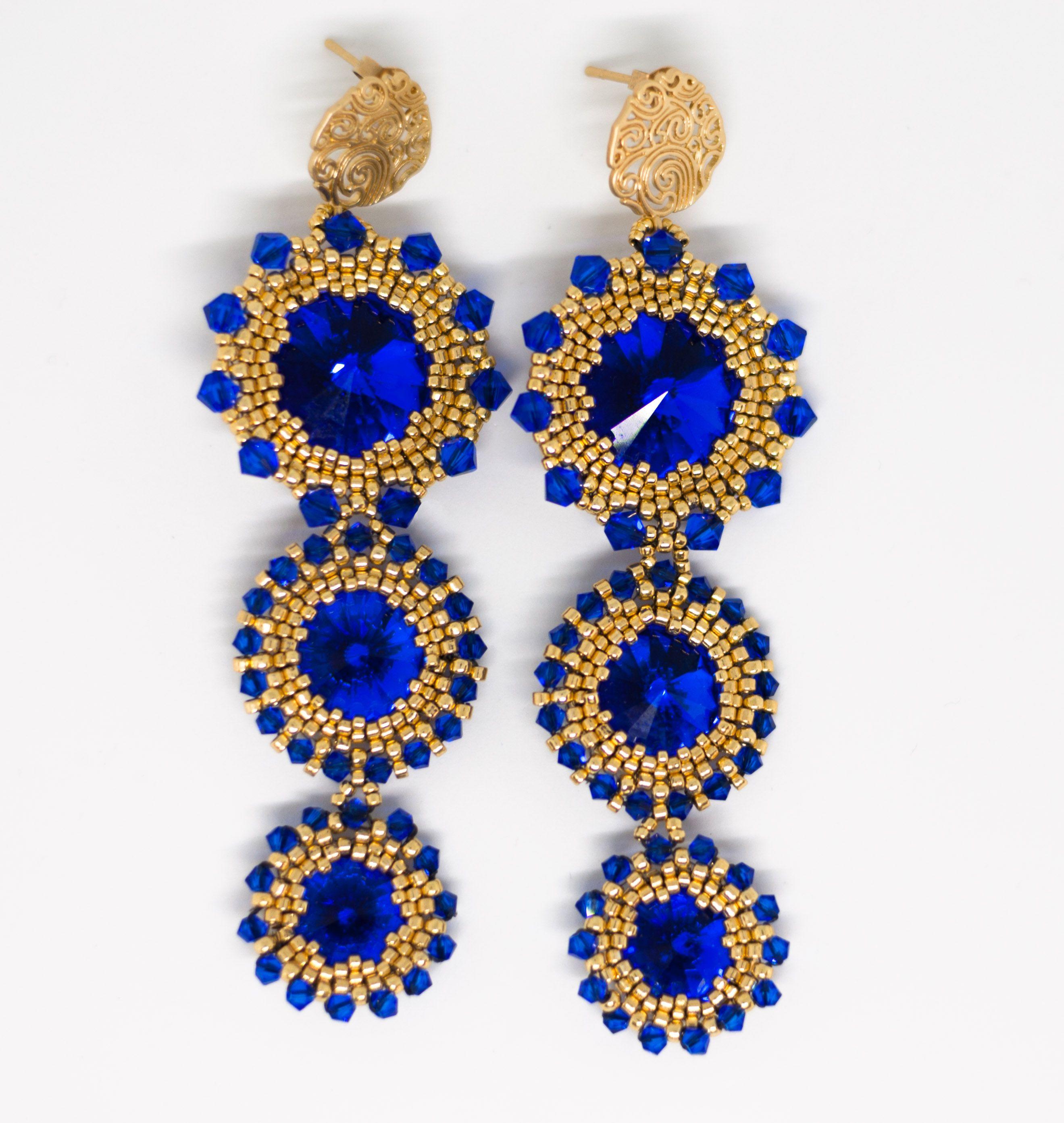 eleganti ORECCHINI lunghi FIORI di Cristallo GOLD cerimonia colore Blu