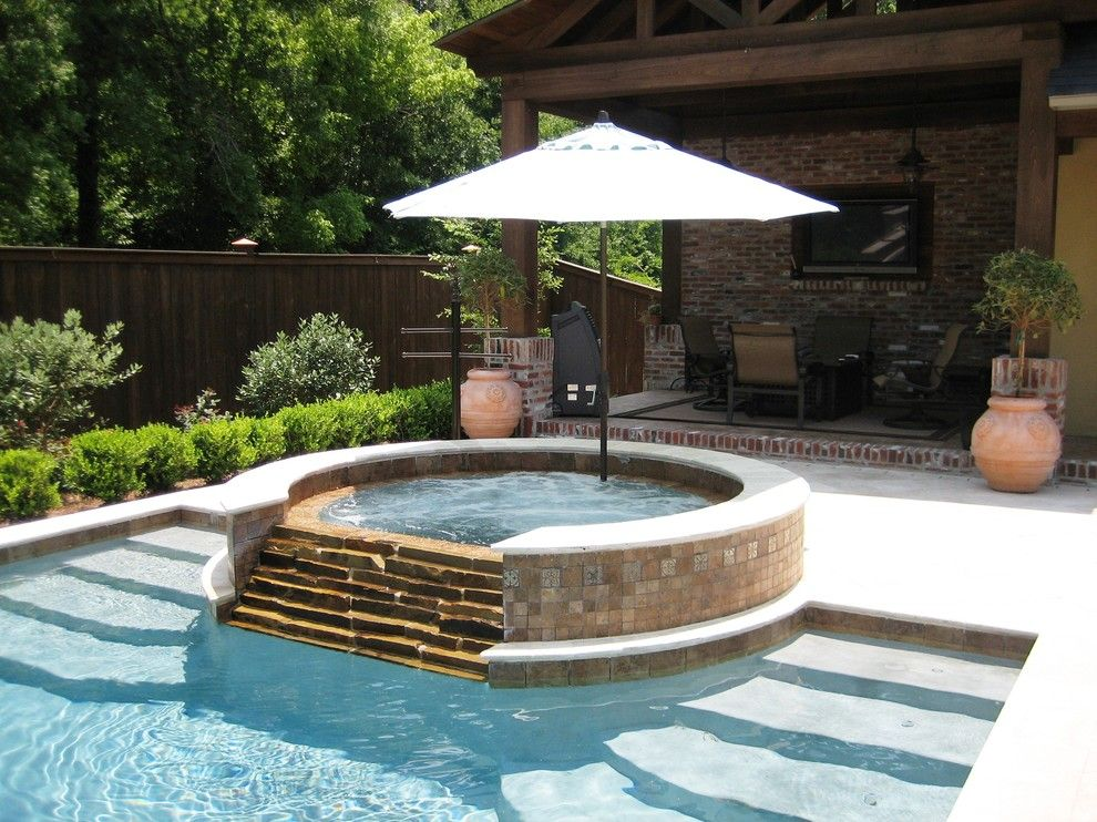 Hot Tub Ideas Pool Traditional With Outdoor Lounge Covered Patio