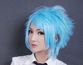 Free Shipping Soul Eater Cartoon Character Style Hair Wigs Light Blue Hair Wig Short Cosplay Wigs Hai Short Blue Hair Blue Ombre Hair Turquoise Hair Ombre