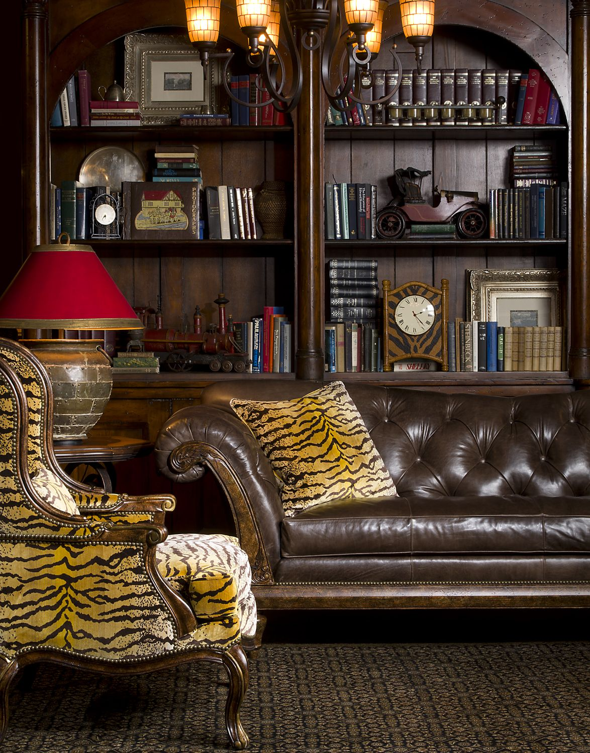 Living Room Library Design Ideas: Animal Print # Tufted Sofa # Library # Living Room