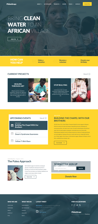 Non Profit Wordpress Theme For Websites Philanthropy Web Design Wordpress Theme Responsive Website Design Inspiration