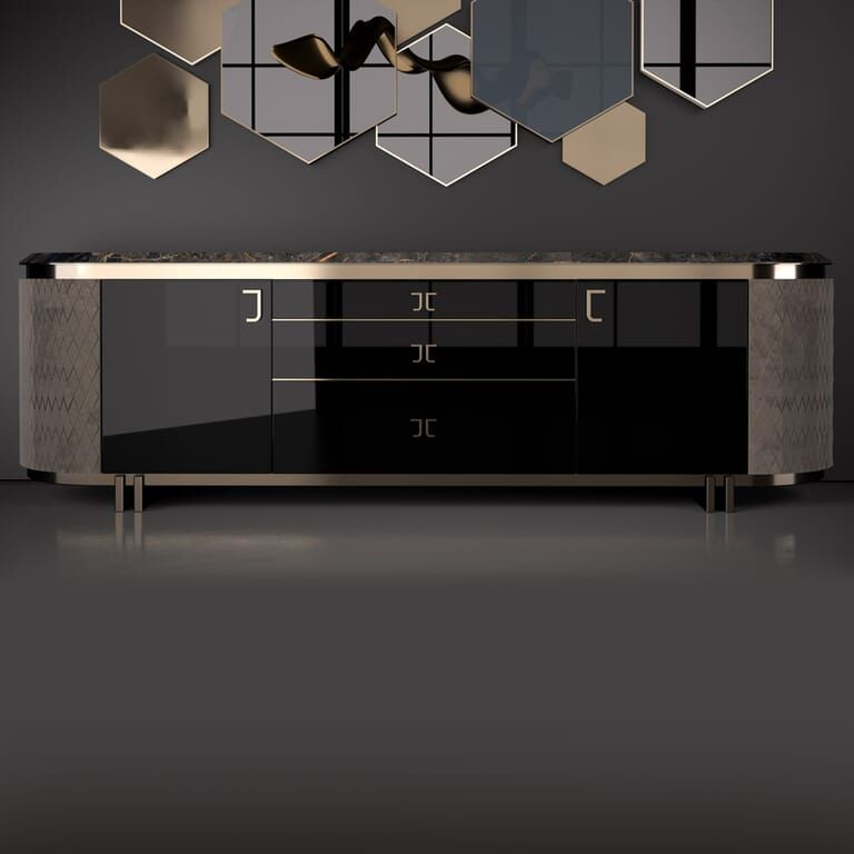 Exclusive Italian Luxury Designer Nubuck And Lacquered Buffet In