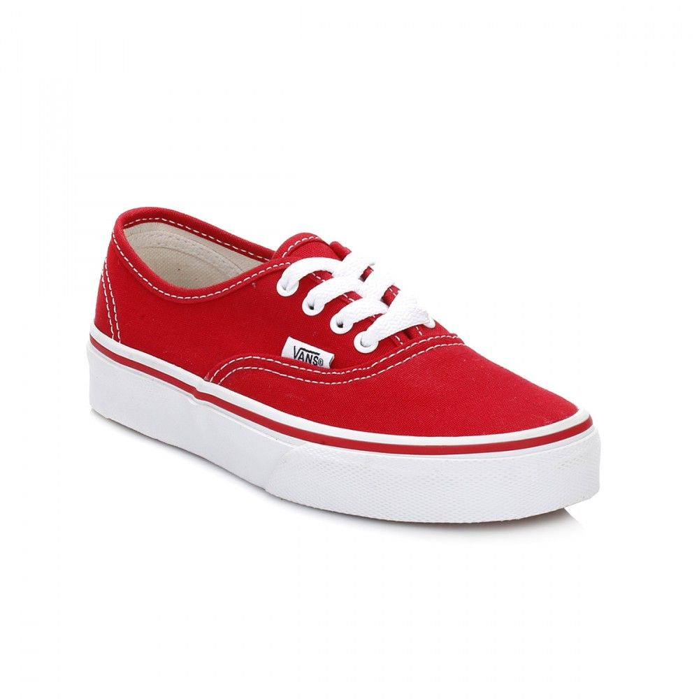 2b8fe37812 Vans Kids Red True White Authentic Canvas Trainers