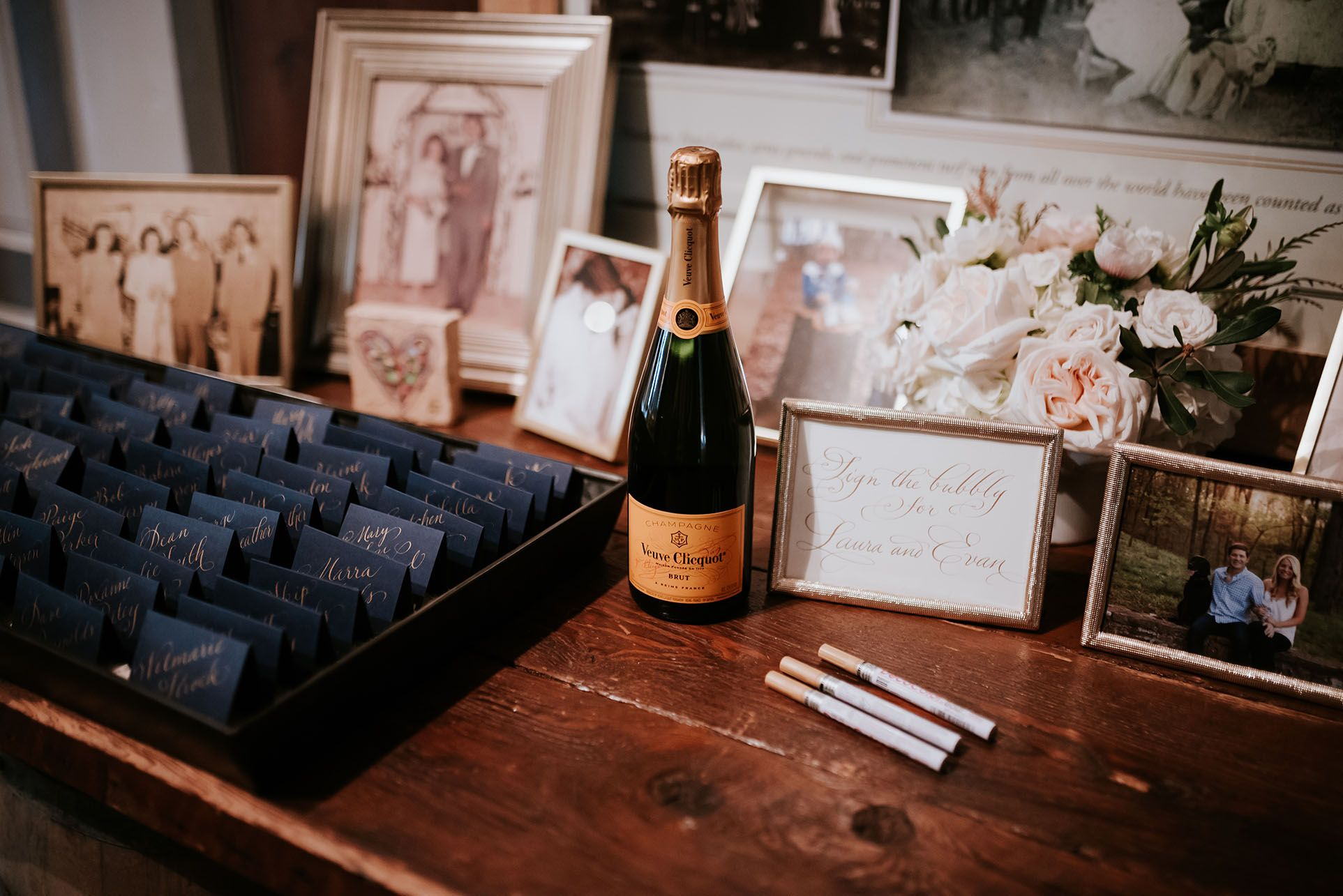 Champagne Bottle as Guest Book Rehearsal Dinner