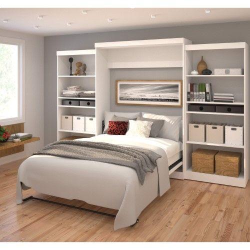 Bestar Pur Murphy Wall Bed With Two 5 Shelf Storage Units Dormitorios Decoracion De Dormitorio Matrimonial Camas