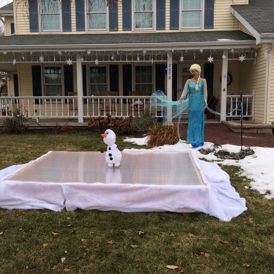 A Nod To FROZEN. My Husband And I Made An Ice Rink And Set