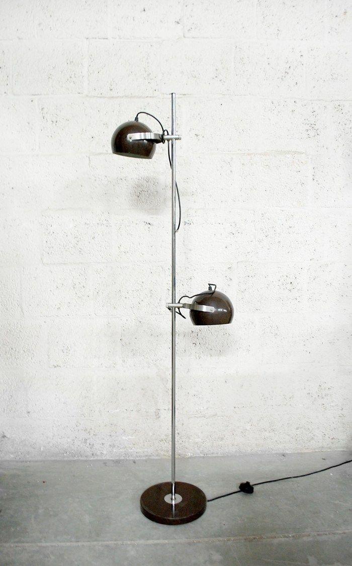 143 Bruine Vintage Bol Lamp Vloerlamp Van Wilko 171 Van Ons