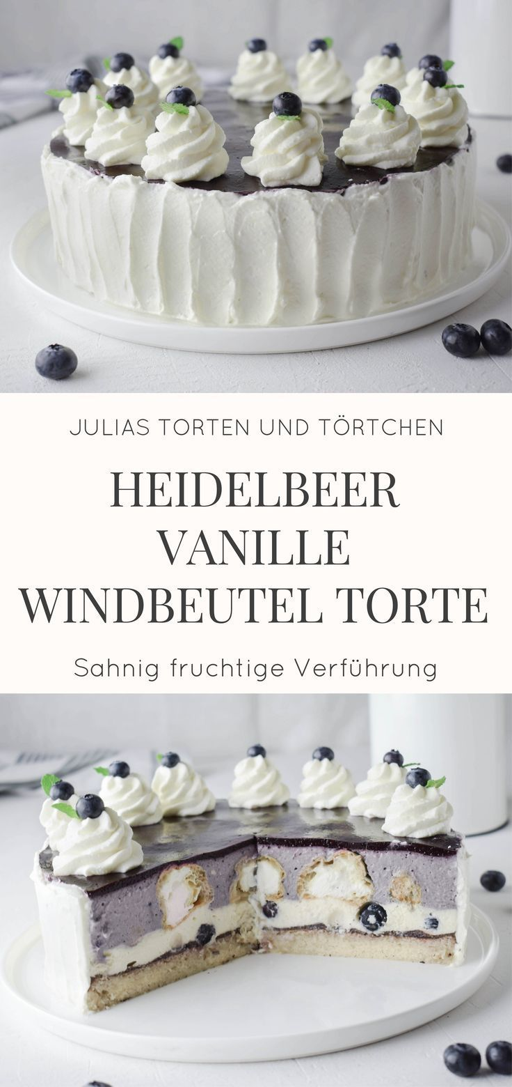 Blueberry vanilla cream puff cake   - Torten -