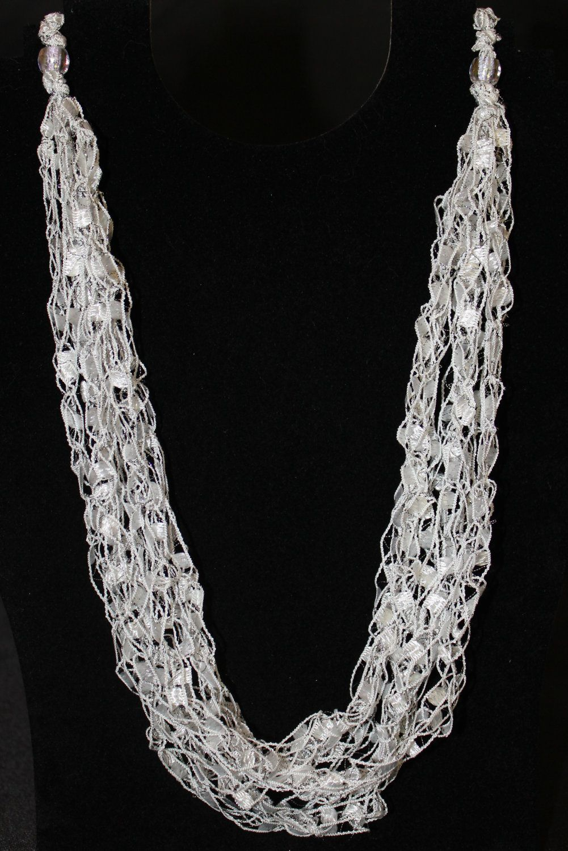 PATTERN for Crocheted Yarn Adjustable Necklace - Ladder Yarn, Ribbon ...