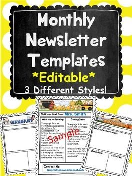 monthly newsletters editiable pta pinterest