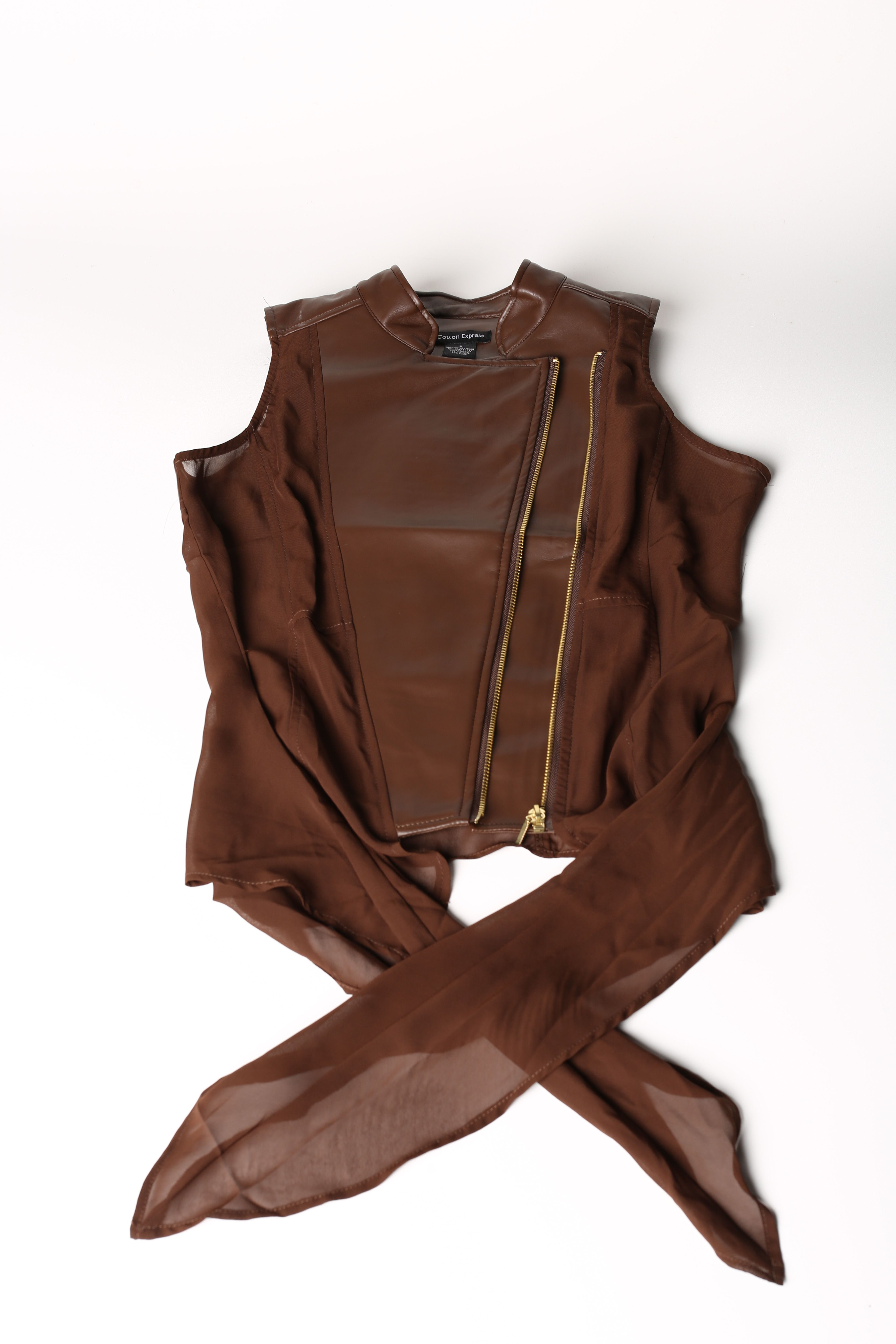 Brown #Vest- $14.99 #BacktoSchool #Fashion #Zipper #Angle #Tie #Hip #Headturner #DiscoveryClothing#discoveryfashion #fall2013