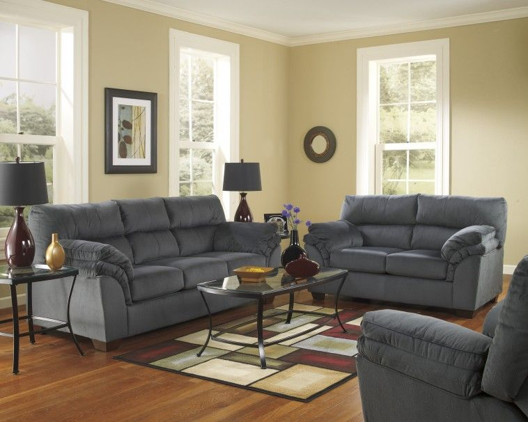 Furniture Dark Grey Fabric Couch And Rectangle Black Metal Table