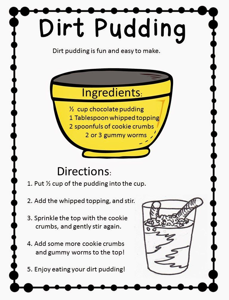 dirt pudding freebie great functional text activity top teachers smorgasboard pinterest. Black Bedroom Furniture Sets. Home Design Ideas