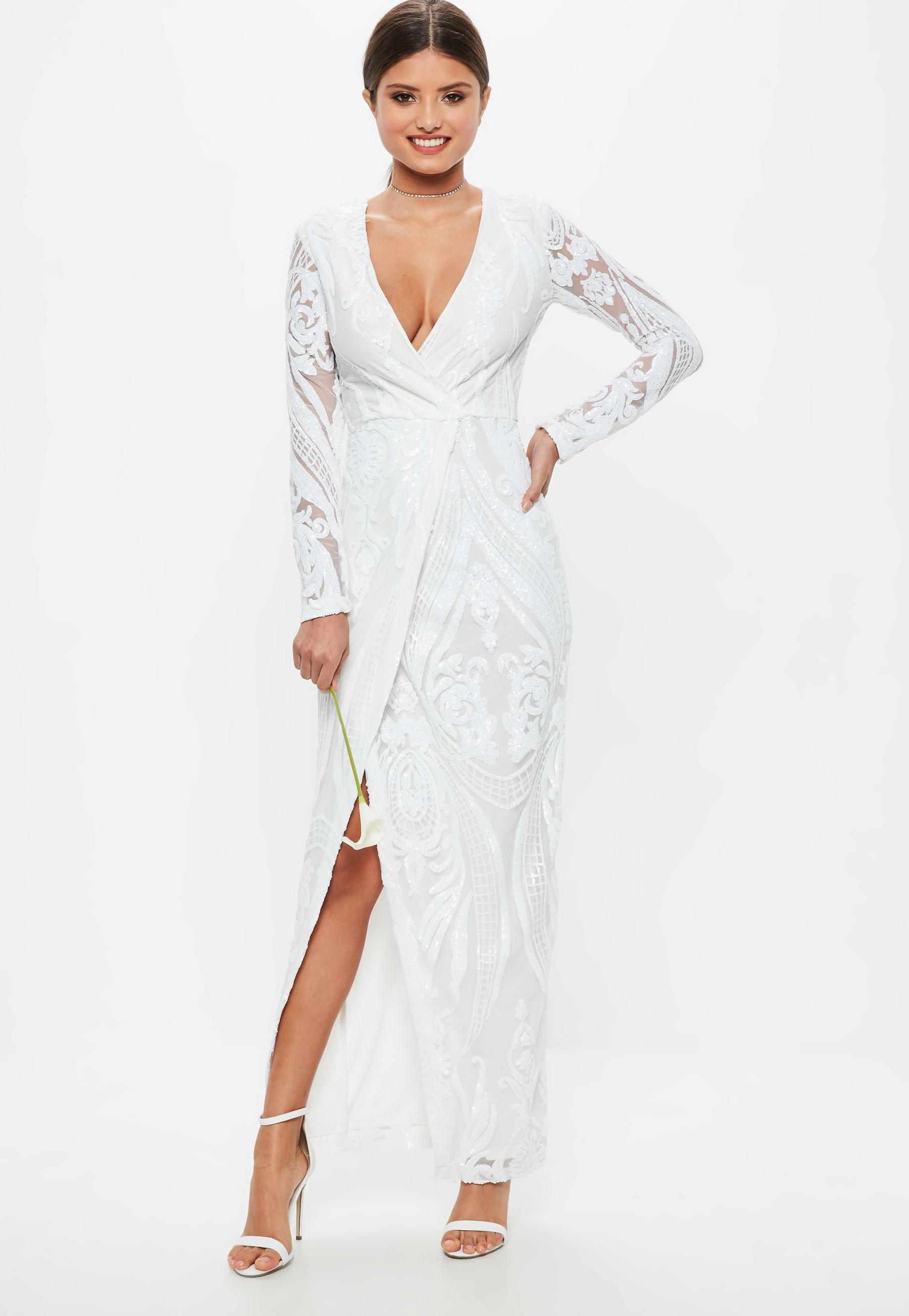 59ae954099 Ślubna Biała zawijana sukienka maxi w cekinowe wzory z długimi rękawami